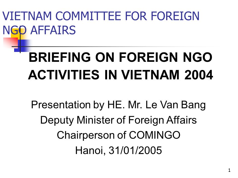 1 BRIEFING ON FOREIGN NGO ACTIVITIES IN VIETNAM 2004 VIETNAM COMMITTEE FOR FOREIGN NGO AFFAIRS Presentation by HE.
