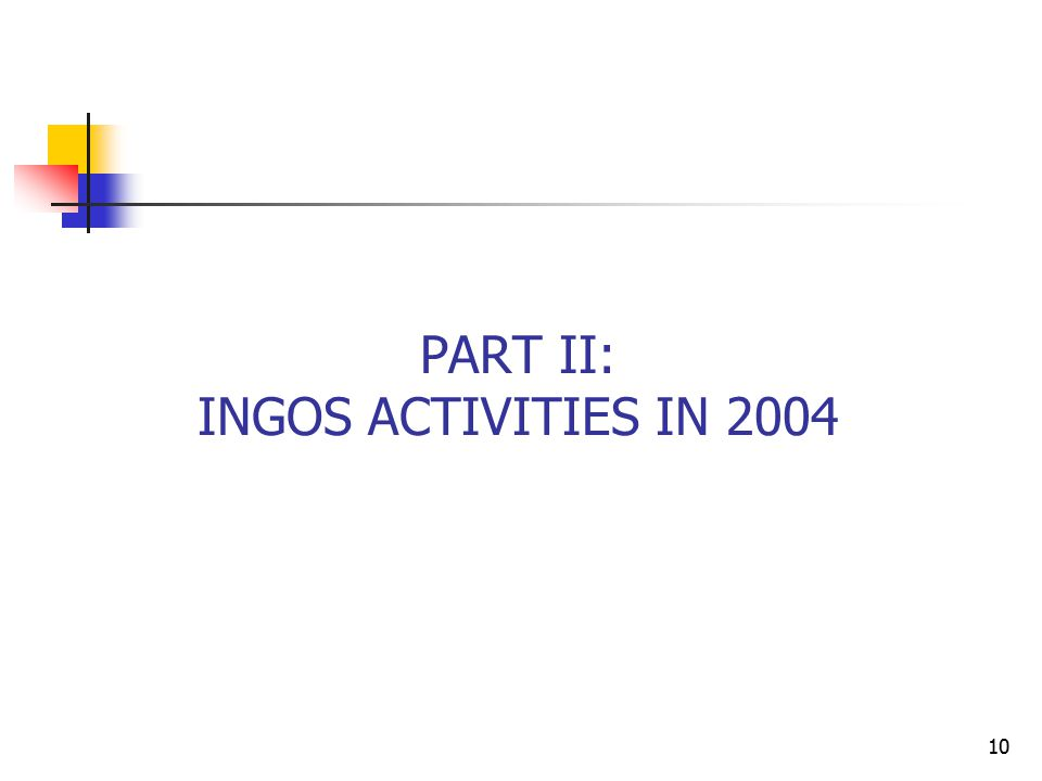 10 PART II: INGOS ACTIVITIES IN 2004