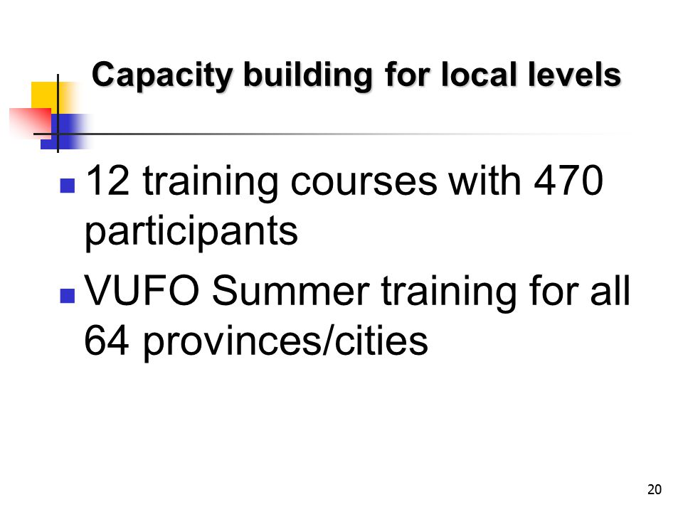 20 Capacity building for local levels 12 training courses with 470 participants VUFO Summer training for all 64 provinces/cities