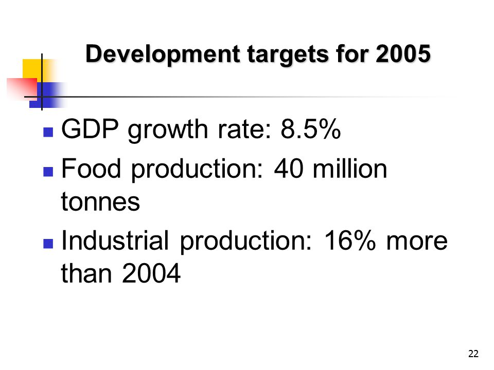22 Development targets for 2005 GDP growth rate: 8.5% Food production: 40 million tonnes Industrial production: 16% more than 2004