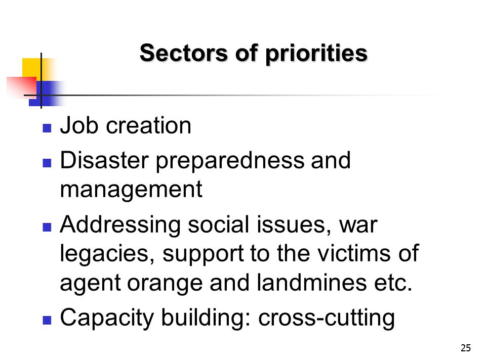 25 Sectors of priorities Job creation Disaster preparedness and management Addressing social issues, war legacies, support to the victims of agent orange and landmines etc.