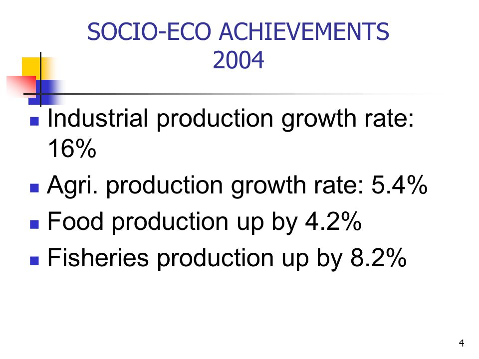 4 SOCIO-ECO ACHIEVEMENTS 2004 Industrial production growth rate: 16% Agri.