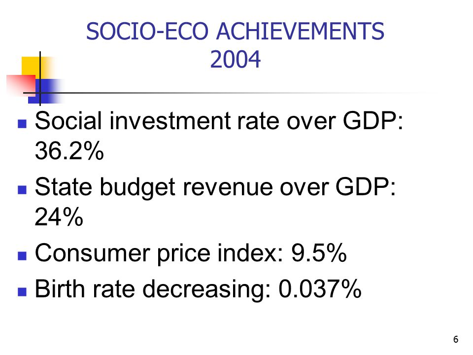 6 SOCIO-ECO ACHIEVEMENTS 2004 Social investment rate over GDP: 36.2% State budget revenue over GDP: 24% Consumer price index: 9.5% Birth rate decreasing: 0.037%