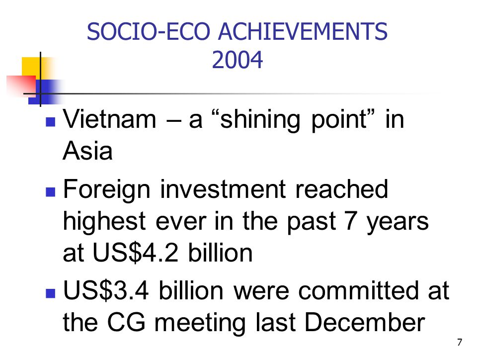 7 SOCIO-ECO ACHIEVEMENTS 2004 Vietnam – a shining point in Asia Foreign investment reached highest ever in the past 7 years at US$4.2 billion US$3.4 billion were committed at the CG meeting last December