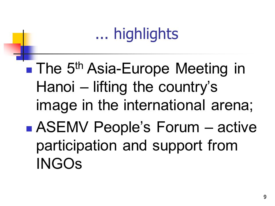 9... highlights The 5 th Asia-Europe Meeting in Hanoi – lifting the country's image in the international arena; ASEMV People's Forum – active particip