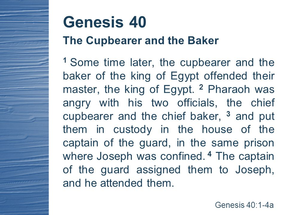 After they had been in custody for some time, 5 each of the two men—the cupbearer and the baker of the king of Egypt, who were being held in prison— had a dream the same night, and each dream had a meaning of its own.