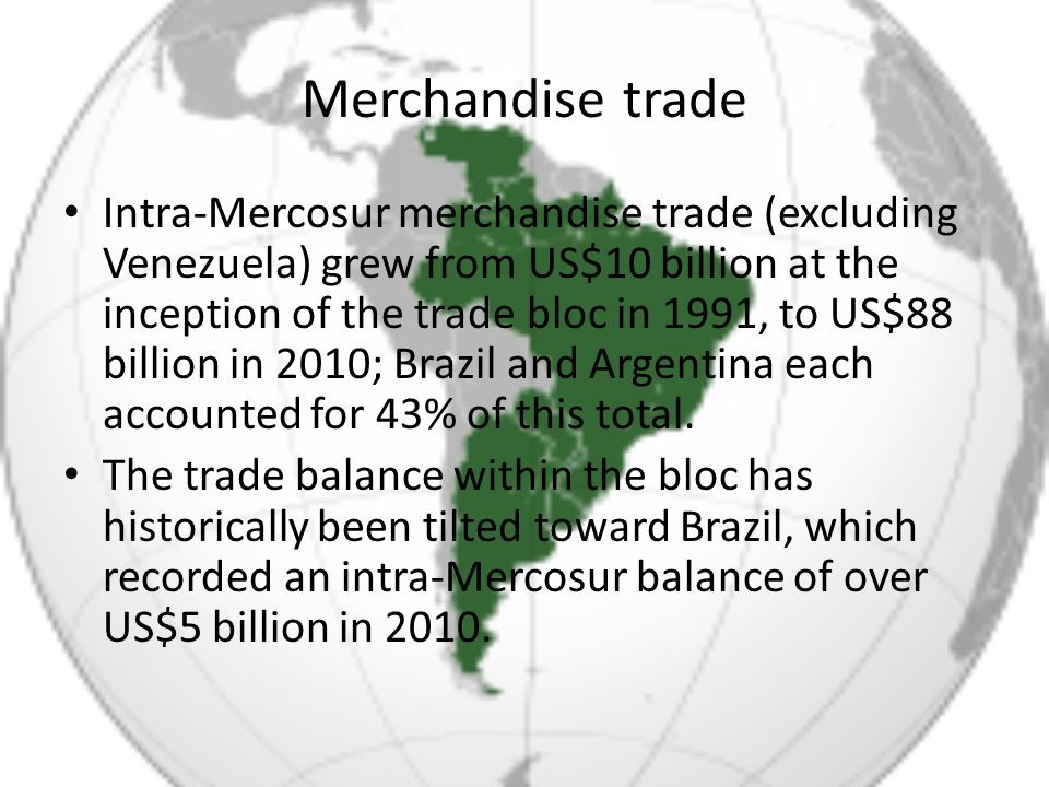 Merchandise trade Trade within Mercosur amounted to only 16% of the four countries total merchandise trade in 2010, however; trade with the European Union (20%), China (14%), and the United States (11%) was of comparable importance.