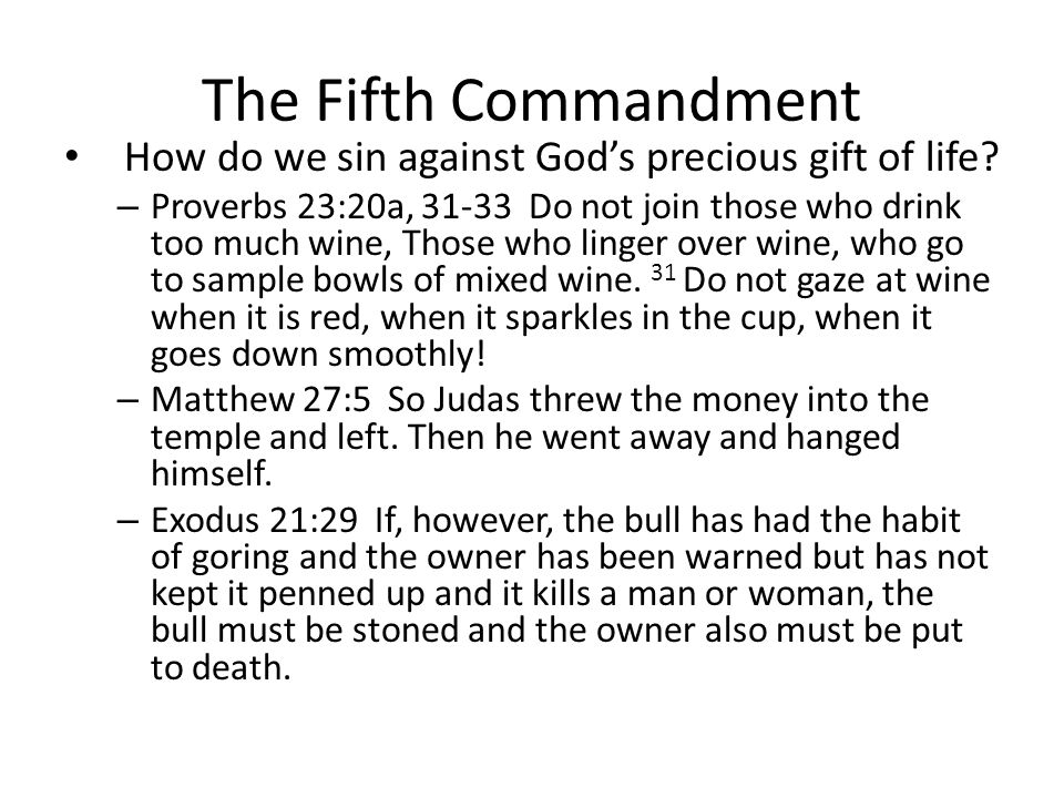 The Fifth Commandment How do we sin against God's precious gift of life.