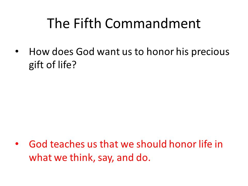 The Fifth Commandment How does God want us to honor his precious gift of life.