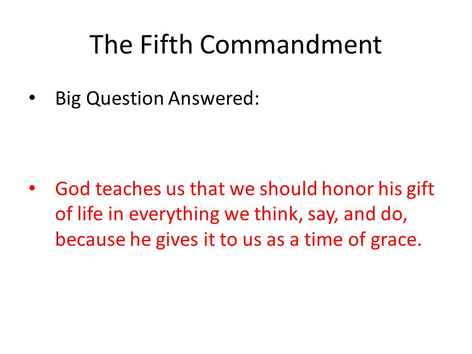 The Fifth Commandment Big Question Answered: God teaches us that we should honor his gift of life in everything we think, say, and do, because he gives it to us as a time of grace.