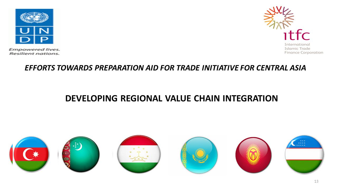 EFFORTS TOWARDS PREPARATION AID FOR TRADE INITIATIVE FOR CENTRAL ASIA 13 DEVELOPING REGIONAL VALUE CHAIN INTEGRATION