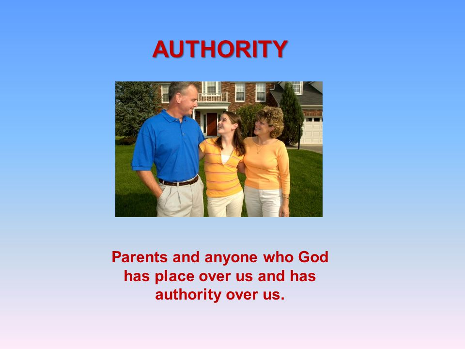 AUTHORITY Parents and anyone who God has place over us and has authority over us.