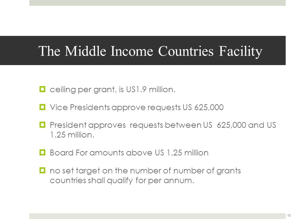 The Middle Income Countries Facility  ceiling per grant, is US1.9 million.
