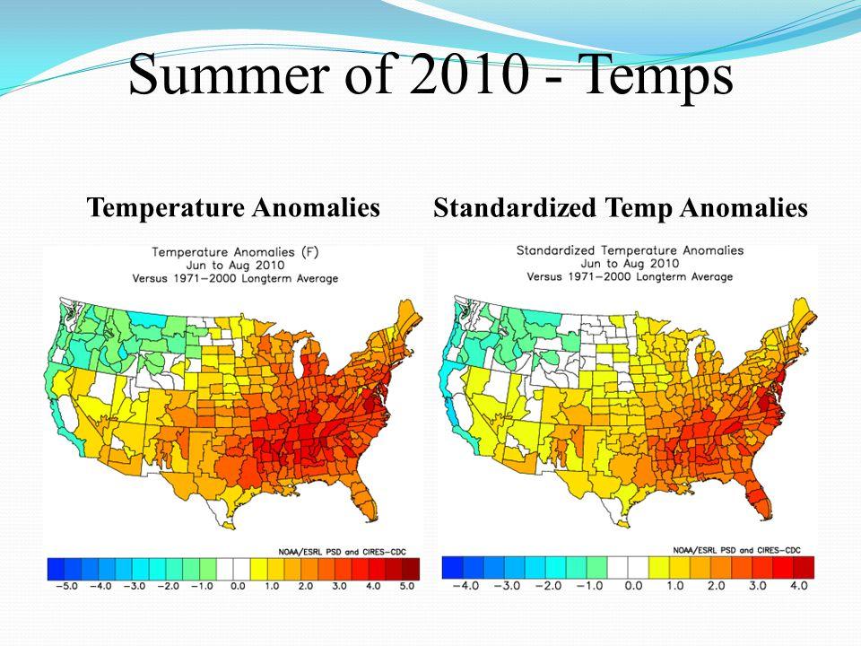Summer of 2010 - Temps Temperature Anomalies Standardized Temp Anomalies