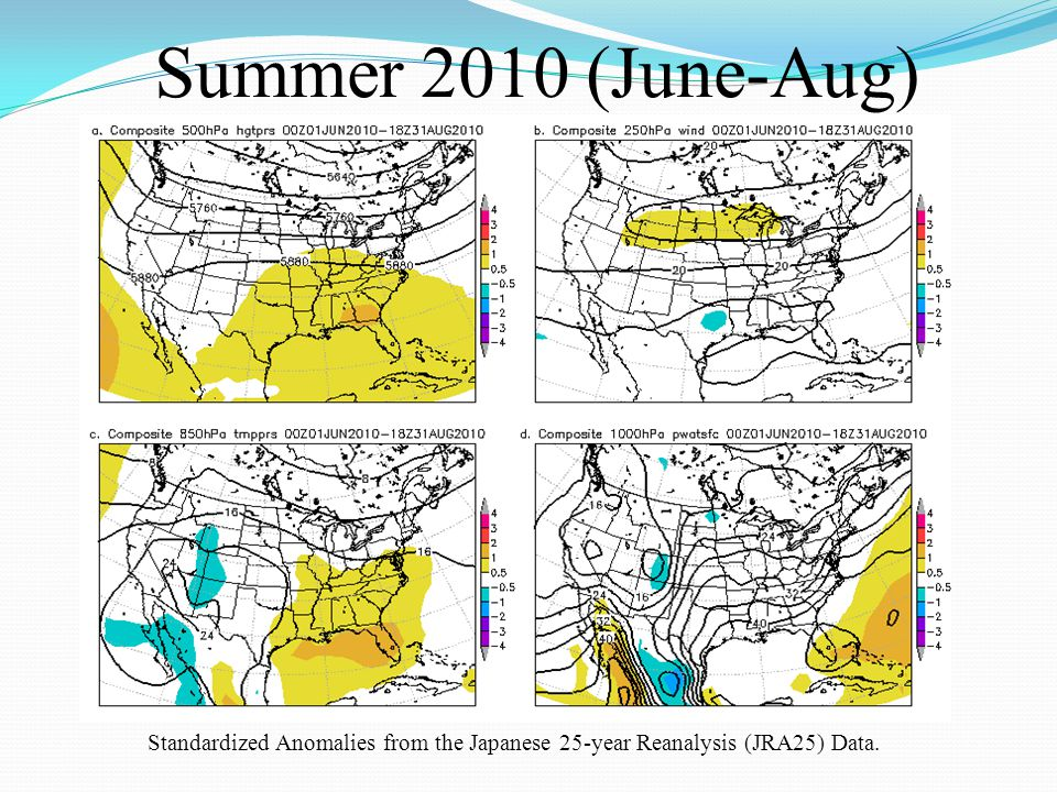 Summer 2010 (June-Aug) Standardized Anomalies from the Japanese 25-year Reanalysis (JRA25) Data.