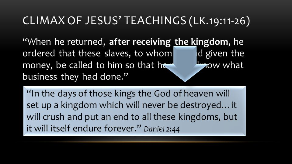 CLIMAX OF JESUS' TEACHINGS (LK.19:11-26) When he returned, after receiving the kingdom, he ordered that these slaves, to whom he had given the money, be called to him so that he might know what business they had done. We are stewards, not owners Everything we have was given to us.