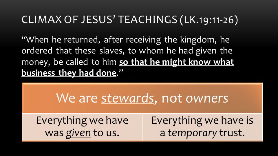 CLIMAX OF JESUS' TEACHINGS (LK.19:11-26) When he returned, after receiving the kingdom, he ordered that these slaves, to whom he had given the money, be called to him so that he might know what business they had done. What will you do with your gifts.