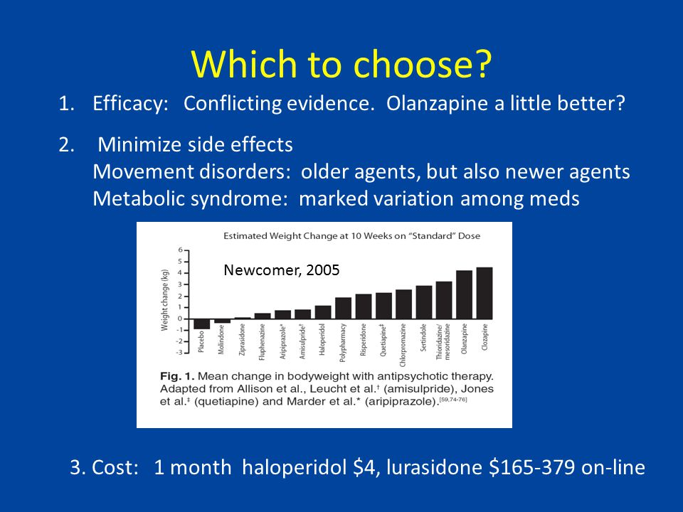 Clozapine as third line agent Clozapine most effective agent for patients who fail other antipsychotics Current conventional wisdom: Use after two good trials of another agent Example: Agid et al, 2011 244 individuals with first episode psychosis (average age ~22) 1 st trial : up to three months of increasing doses of risperidone or olanzapine 75% responded (olanzapine a little better) 2 nd trial: Nonresponders to first trial put on the other medicine 17% responded 3 rd trial: nonresponders to 2 nd trial put on clozapine: 75% responded Should clozapine be a first or second line treatment option.