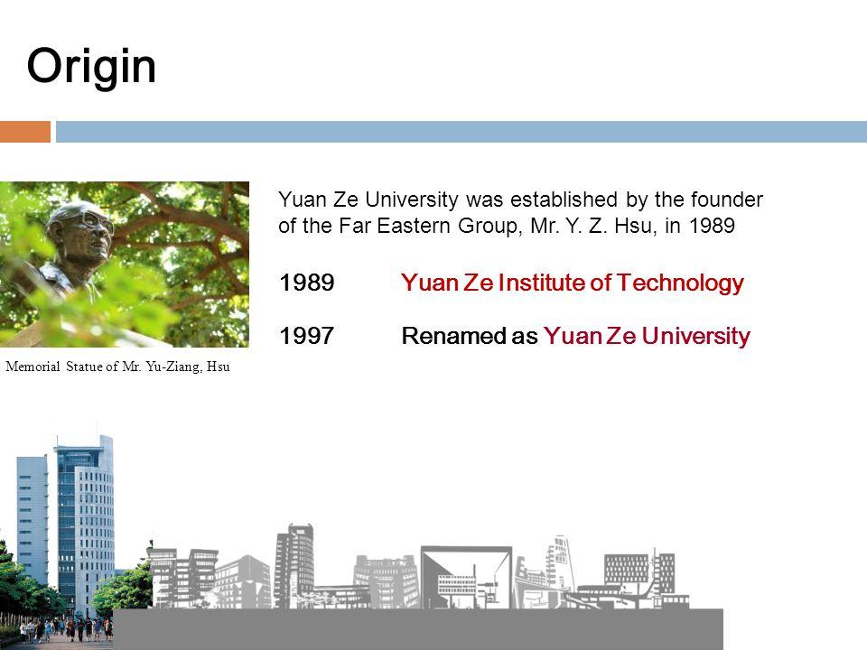 Origin 1989 Yuan Ze Institute of Technology 1997 Renamed as Yuan Ze University Memorial Statue of Mr.