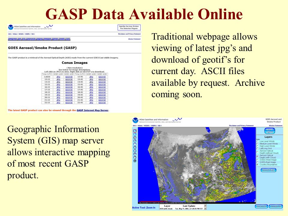 GASP Data Available Online Traditional webpage allows viewing of latest jpg's and download of geotif's for current day.