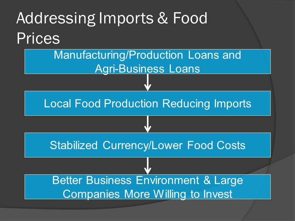 Addressing Imports & Food Prices Manufacturing/Production Loans and Agri-Business Loans Local Food Production Reducing Imports Stabilized Currency/Lower Food Costs Better Business Environment & Large Companies More Willing to Invest