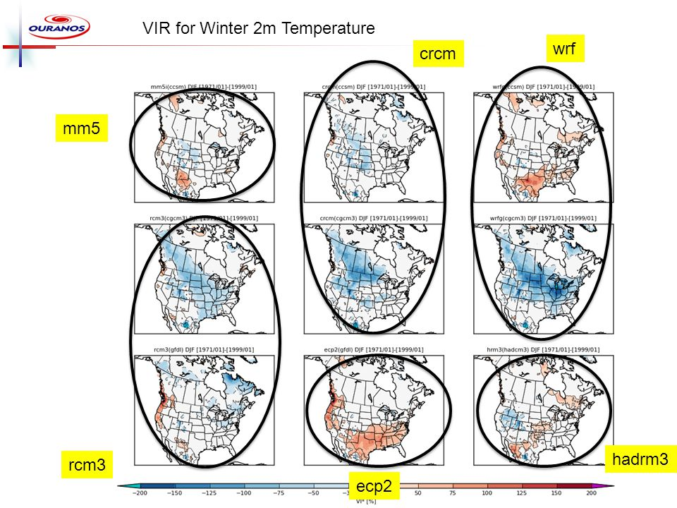 VIR for Winter 2m Temperature crcm wrf rcm3 hadrm3 ecp2 mm5