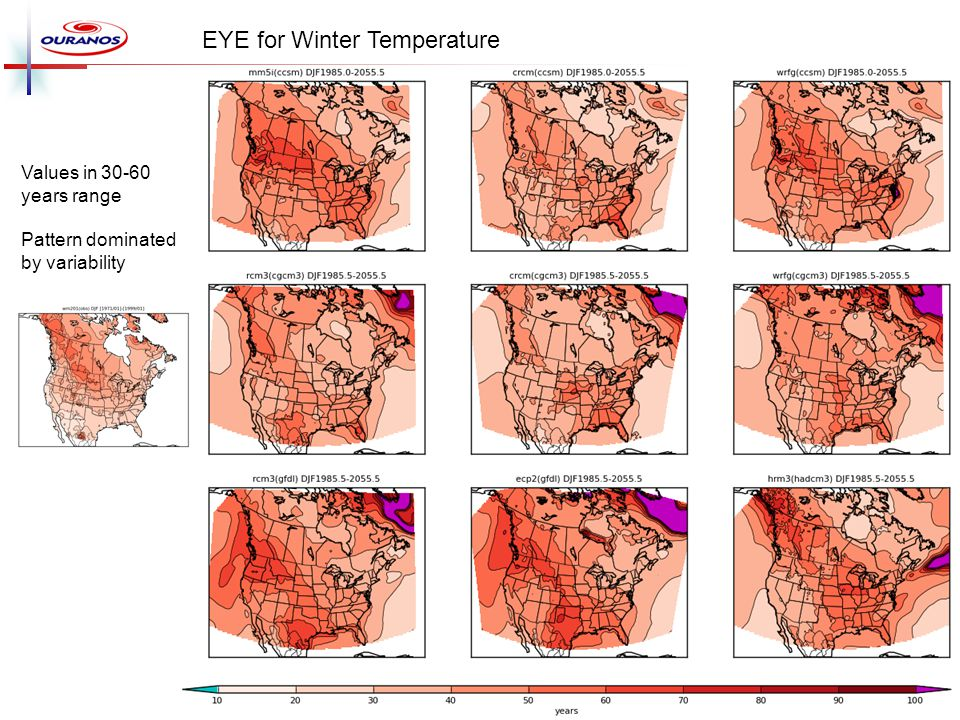 EYE for Winter Temperature Values in 30-60 years range Pattern dominated by variability