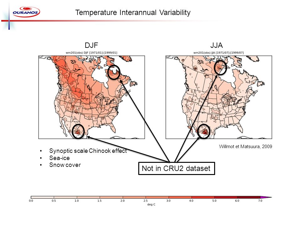 Synoptic scale Chinook effect Sea-ice Snow cover Temperature Interannual Variability DJFJJA Willmot et Matsuura, 2009 Not in CRU2 dataset