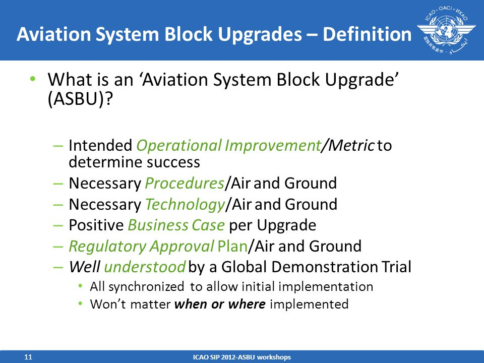 11 Aviation System Block Upgrades – Definition What is an 'Aviation System Block Upgrade' (ASBU)? – Intended Operational Improvement/Metric to determi