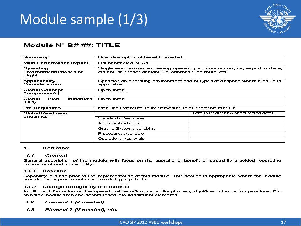 Module sample (1/3) ICAO SIP 2012-ASBU workshops17