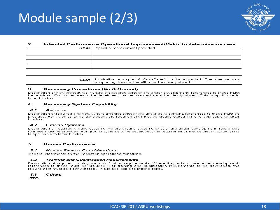 Module sample (2/3) ICAO SIP 2012-ASBU workshops18