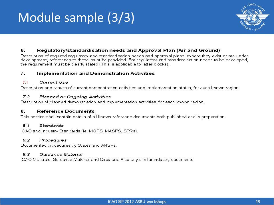 Module sample (3/3) ICAO SIP 2012-ASBU workshops19