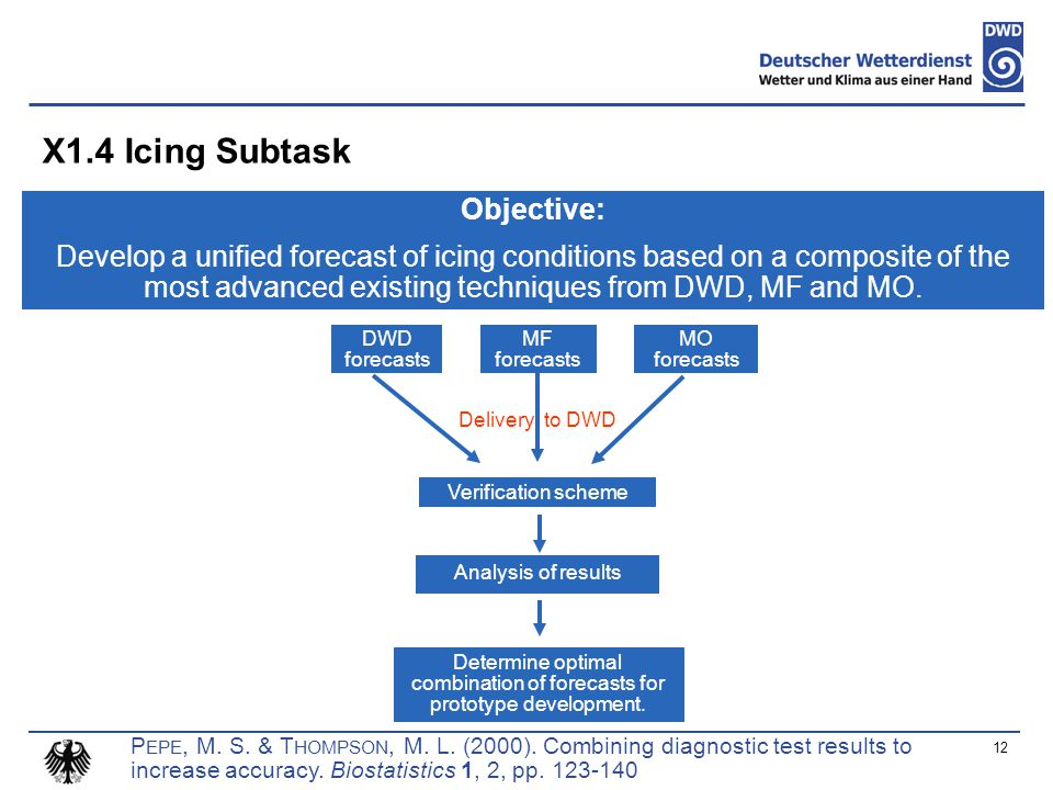 X1.4 Icing Subtask 12 Objective: Develop a unified forecast of icing conditions based on a composite of the most advanced existing techniques from DWD