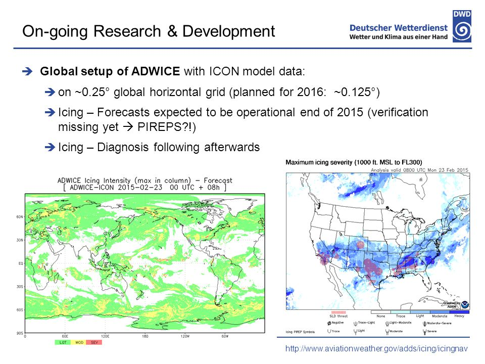  Global setup of ADWICE with ICON model data:  on ~0.25° global horizontal grid (planned for 2016: ~0.125°)  Icing – Forecasts expected to be operational end of 2015 (verification missing yet  PIREPS !)  Icing – Diagnosis following afterwards On-going Research & Development http://www.aviationweather.gov/adds/icing/icingnav