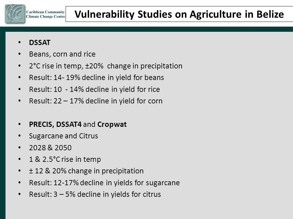 Vulnerability Studies on Agriculture in Belize DSSAT Beans, corn and rice 2°C rise in temp, ±20% change in precipitation Result: 14- 19% decline in yield for beans Result: 10 - 14% decline in yield for rice Result: 22 – 17% decline in yield for corn PRECIS, DSSAT4 and Cropwat Sugarcane and Citrus 2028 & 2050 1 & 2.5°C rise in temp ± 12 & 20% change in precipitation Result: 12-17% decline in yields for sugarcane Result: 3 – 5% decline in yields for citrus