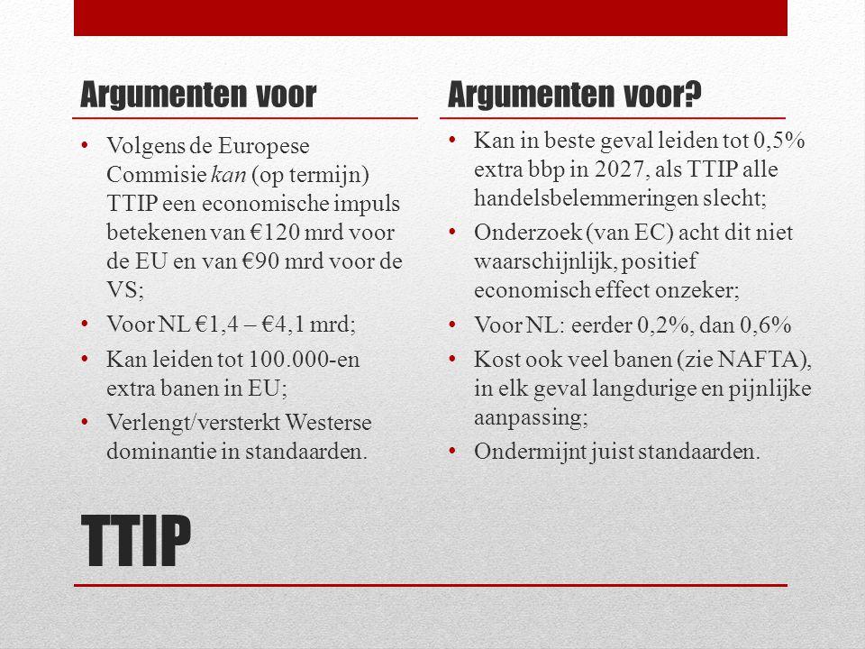 TTIP Argumenten voor Volgens de Europese Commisie kan (op termijn) TTIP een economische impuls betekenen van €120 mrd voor de EU en van €90 mrd voor de VS; Voor NL €1,4 – €4,1 mrd; Kan leiden tot 100.000-en extra banen in EU; Verlengt/versterkt Westerse dominantie in standaarden.