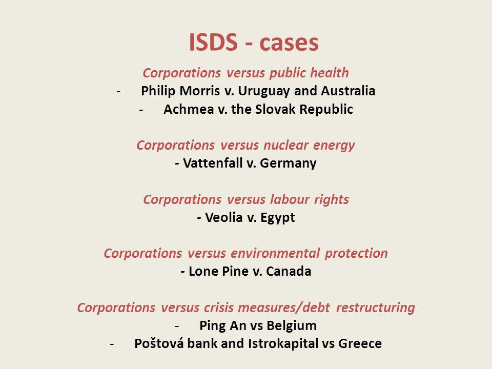 ISDS - cases Corporations versus public health -Philip Morris v.