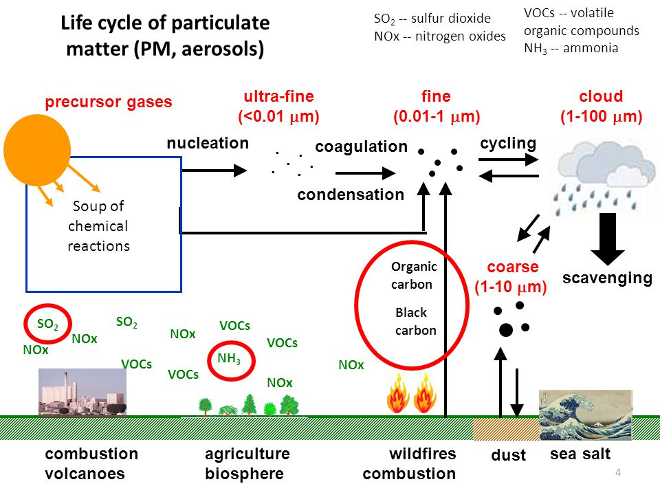 4 Life cycle of particulate matter (PM, aerosols) nucleation coagulation condensation wildfires combustion sea salt......