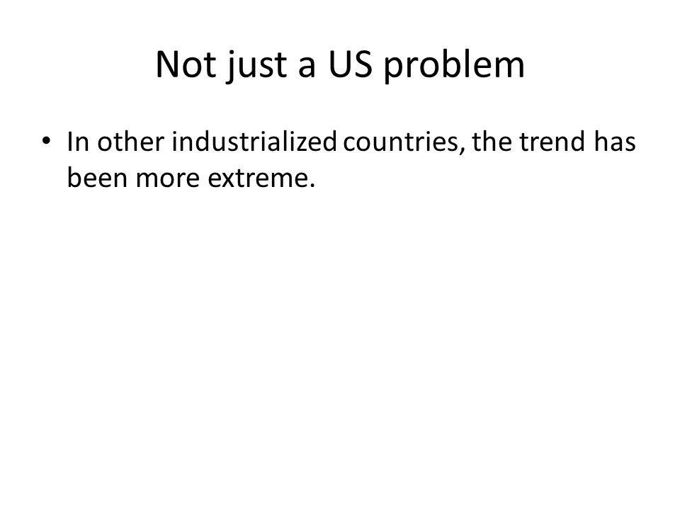 Not just a US problem In other industrialized countries, the trend has been more extreme.