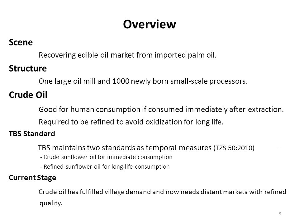 Overview Scene Recovering edible oil market from imported palm oil. Structure One large oil mill and 1000 newly born small-scale processors. Crude Oil