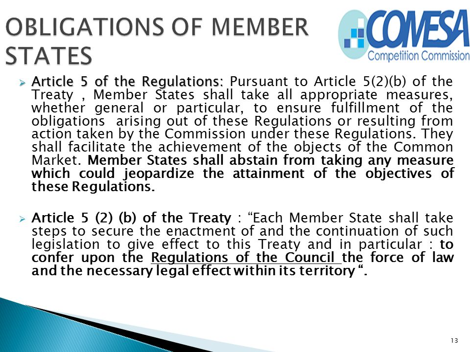  Article 5 of the Regulations:  Article 5 of the Regulations: Pursuant to Article 5(2)(b) of the Treaty, Member States shall take all appropriate me