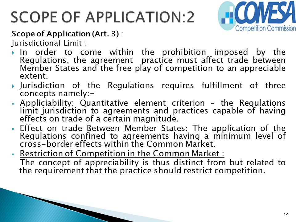 Scope of Application (Art. 3) : Jurisdictional Limit :  In order to come within the prohibition imposed by the Regulations, the agreement practice mu