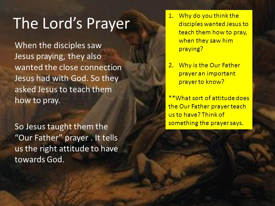 1.Write out the correct meaning for each line in the Lord's Prayer.