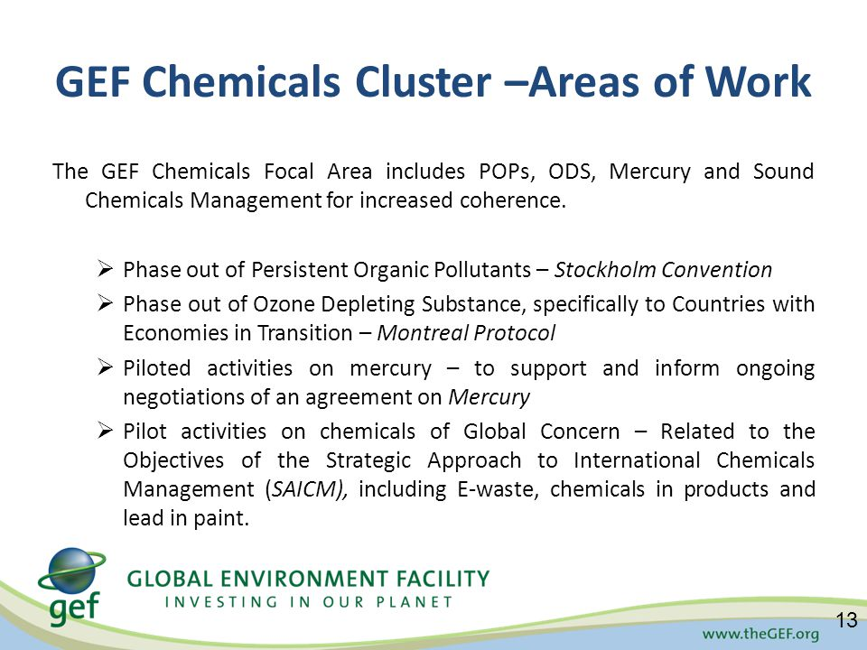 GEF Chemicals Cluster –Areas of Work The GEF Chemicals Focal Area includes POPs, ODS, Mercury and Sound Chemicals Management for increased coherence.