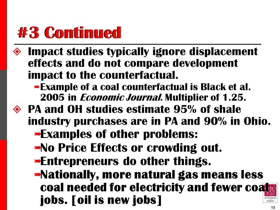 #3 Continued  Impact studies typically ignore displacement effects and do not compare development impact to the counterfactual.