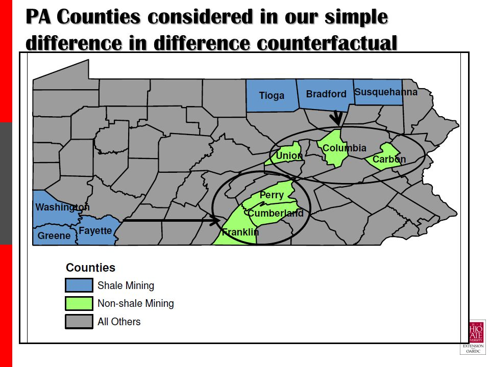 PA Counties considered in our simple difference in difference counterfactual