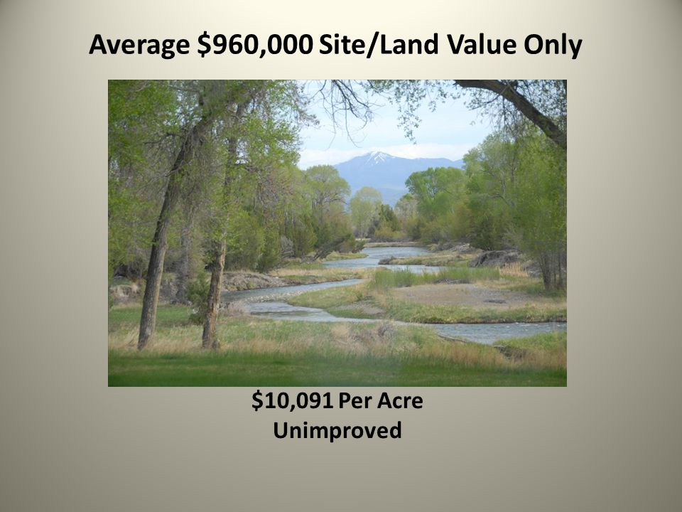 Average $960,000 Site/Land Value Only $10,091 Per Acre Unimproved