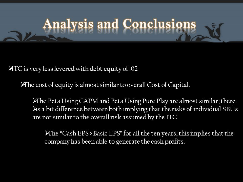  ITC is very less levered with debt equity of.02  The cost of equity is almost similar to overall Cost of Capital.