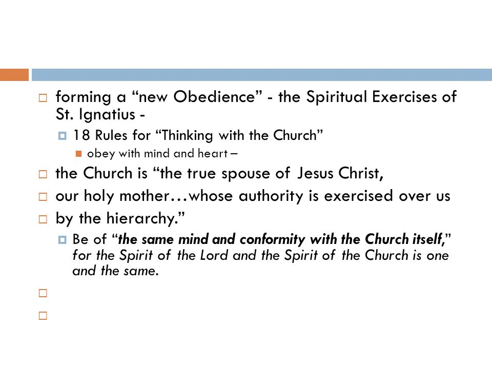  forming a new Obedience - the Spiritual Exercises of St.