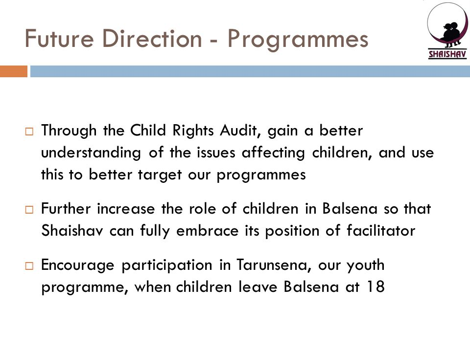 Future Direction - Programmes  Through the Child Rights Audit, gain a better understanding of the issues affecting children, and use this to better target our programmes  Further increase the role of children in Balsena so that Shaishav can fully embrace its position of facilitator  Encourage participation in Tarunsena, our youth programme, when children leave Balsena at 18